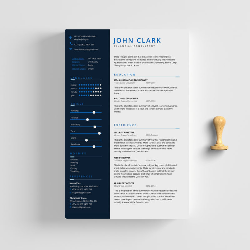 Free Resume Cv Template Ms Word Fleek