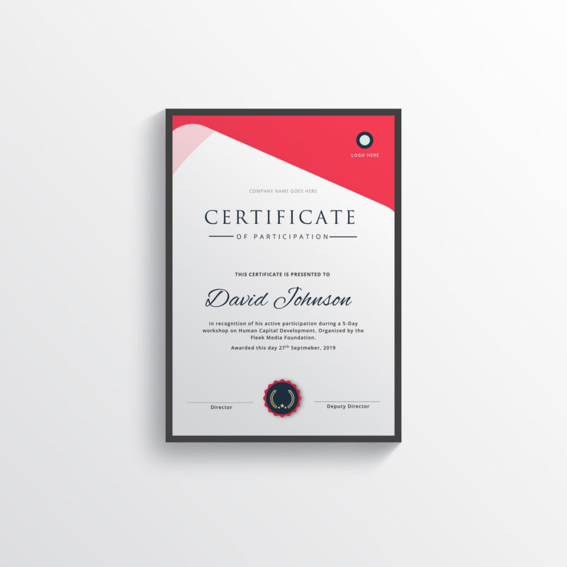 certificate - fleek templates